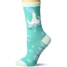 K. Bell Aquarius Crew Socks 1 Pair, Turquoise, Womens Sock Size 9-11/Shoe Size 4-10