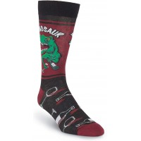 K. Bell Men's Winosaur Crew, Black, Mens Sock Size 10-13/Shoe Size 6.5-12, 1 Pair