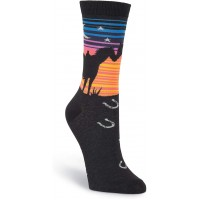 K. Bell Sunset Horses Crew, Black, Womens Sock Size 9-11/Shoe Size 4-10, 1 Pair