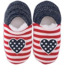 K. Bell Americana Heart Slippers, Navy, Womens Shoe Size 5-8.5, 1 Pair