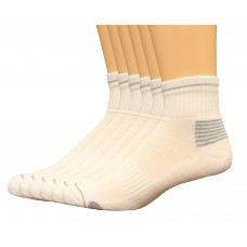 Lee Men's Antimicrobial & Odor Quarter Socks 6 Pair, White, Men's 6-12