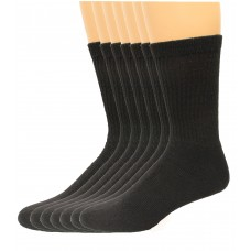 Lee Men's Crew Sport Socks 7 Pair, Black, Men's 6-12