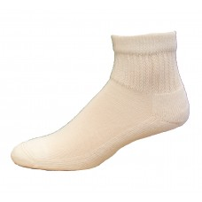 Medipeds Coolmax Cotton Half Cushion Quarter Socks 2 Pair, White, M9-12.5