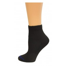 Medipeds Coolmax Poly Non-Binding Half Cushion Quarter Socks 4 Pair, Black, W4-10