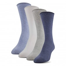 Medipeds Aloe Infused Roll Top Crew Socks 4 Pair, Denim, W4-10