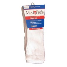 MediPeds Full Cushion Crew, 1 Pair, Large, White