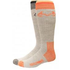 RealTree Elimishield Wool Blend Boot Socks, 2 Pair, Large (M 9-13), Black/Orange