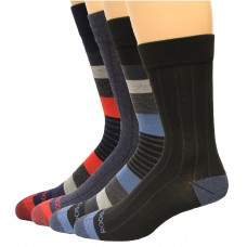 Rockport Men's Crew Socks 4 Pair, Striped Assort., Men's 8-12