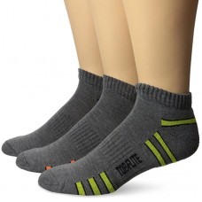 Top Flite Low Cut Stripe Socks, Dk Grey, (L) W 9-12 / M 9-13, 3 Pair
