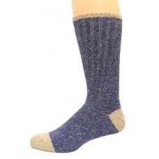 Wise Blend Men's Marl Boot Socks, 1 Pair, Denim, Medium, Shoe Size M 9-13