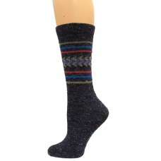 Wise Blend Aztec Crew Socks, 1 Pair, Denim, Medium, Shoe Size W 6-9