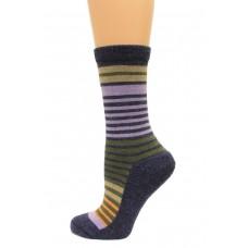 Wise Blend Stripe Crew Socks, 1 Pair, Denim, Medium, Shoe Size W 6-9