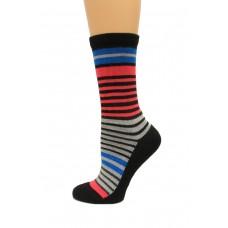 Wise Blend Stripe Crew Socks, 1 Pair, Black, Medium, Shoe Size W 6-9