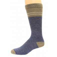 Wise Blend Men's Pinstripe Crew Socks, 1 Pair, Denim, Medium, Shoe Size M 9-13
