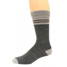 Wise Blend Men's Pinstripe Crew Socks, 1 Pair, Charcoal, Medium, Shoe Size M 9-13
