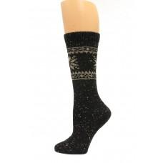 Wise Blend Snowflake Crew Heavyweight Socks, 1 Pair, Black, Medium, Shoe Size W 6-9