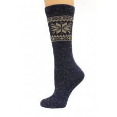 Wise Blend Snowflake Crew Heavyweight Socks, 1 Pair, Denim, Medium, Shoe Size W 6-9