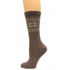 Wise Blend Snowflake Crew Heavyweight Socks, 1 Pair, Brown, Medium, Shoe Size W 6-9