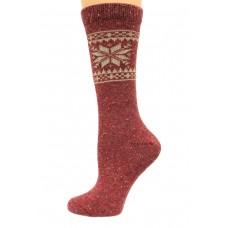 Wise Blend Snowflake Crew Heavyweight Socks, 1 Pair, Red, Medium, Shoe Size W 6-9