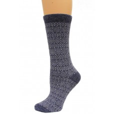 Wise Blend Sweater Fairisle Crew Socks, 1 Pair, Denim, Medium, Shoe Size W 6-9
