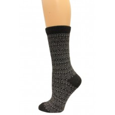 Wise Blend Sweater Fairisle Crew Socks, 1 Pair, Black, Medium, Shoe Size W 6-9
