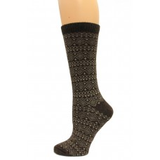 Wise Blend Sweater Fairisle Crew Socks, 1 Pair, Brown, Medium, Shoe Size W 6-9