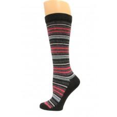 Wise Blend Angora Stripe Knee High Socks, 1 Pair, Black, Medium, Shoe Size W 6-9