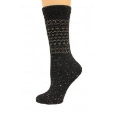 Wise Blend Retro Crew Heavyweight Socks, 1 Pair, Black, Medium, Shoe Size W 6-9