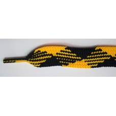 FootGalaxy High Quality Fat Laces For Boots And Shoes, Black-Gold-Argyle
