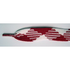 FootGalaxy High Quality Fat Laces For Boots And Shoes, Red-White-Argyle